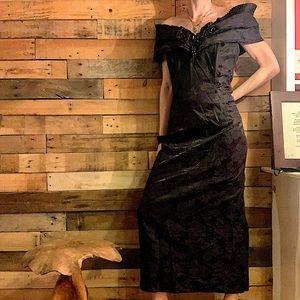 Jessica Mcclintok Black Jewel Off Shoulder Gown